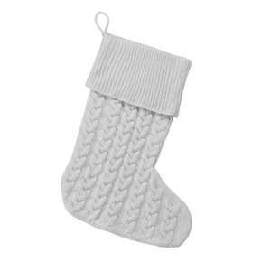 Classic Cable Knit Christmas Stocking in Grey - no Monogram,Christmas stocking - Dirt Road Divas Boutique