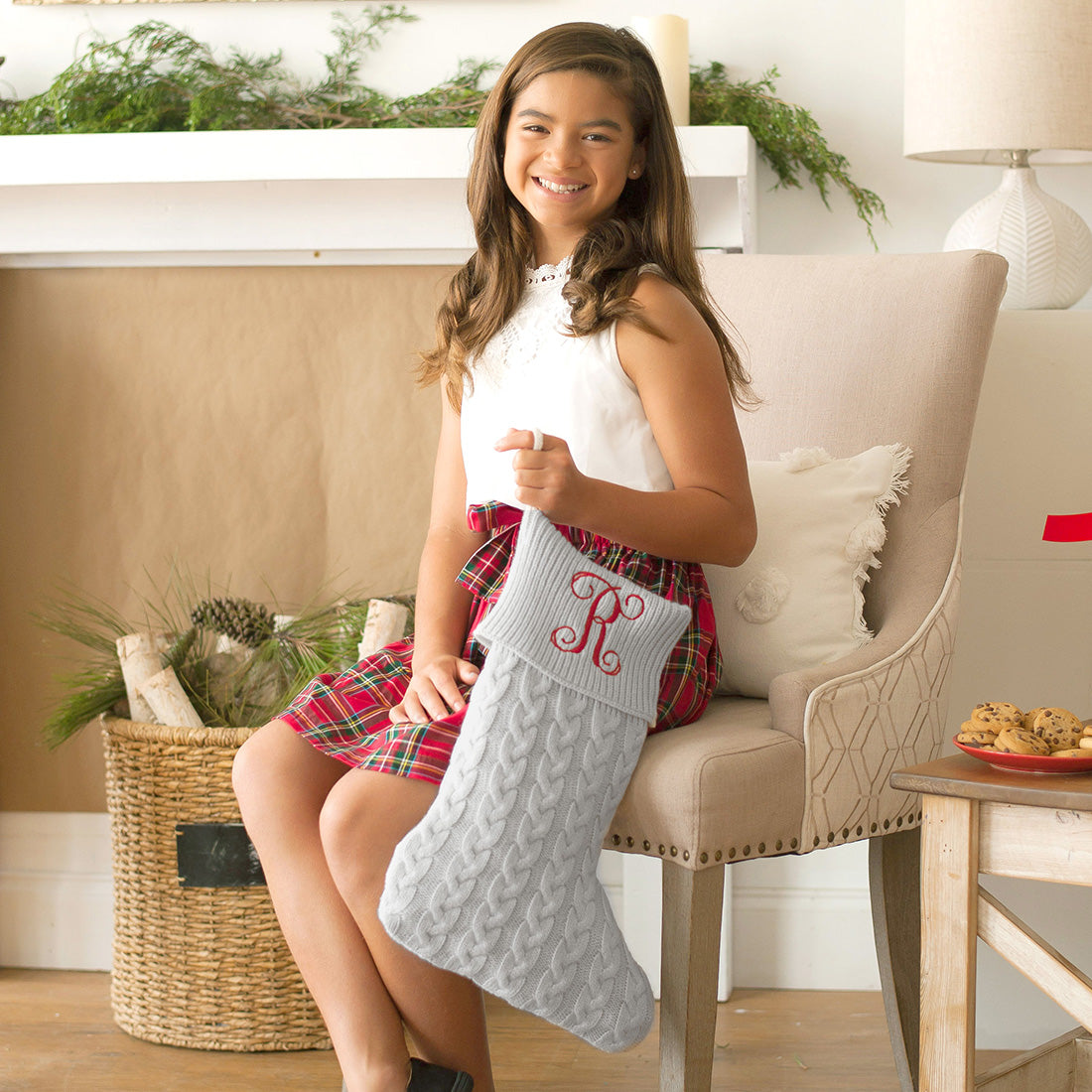Classic Cable Knit Christmas Stocking in Grey - with Monogram,Christmas stocking - Dirt Road Divas Boutique