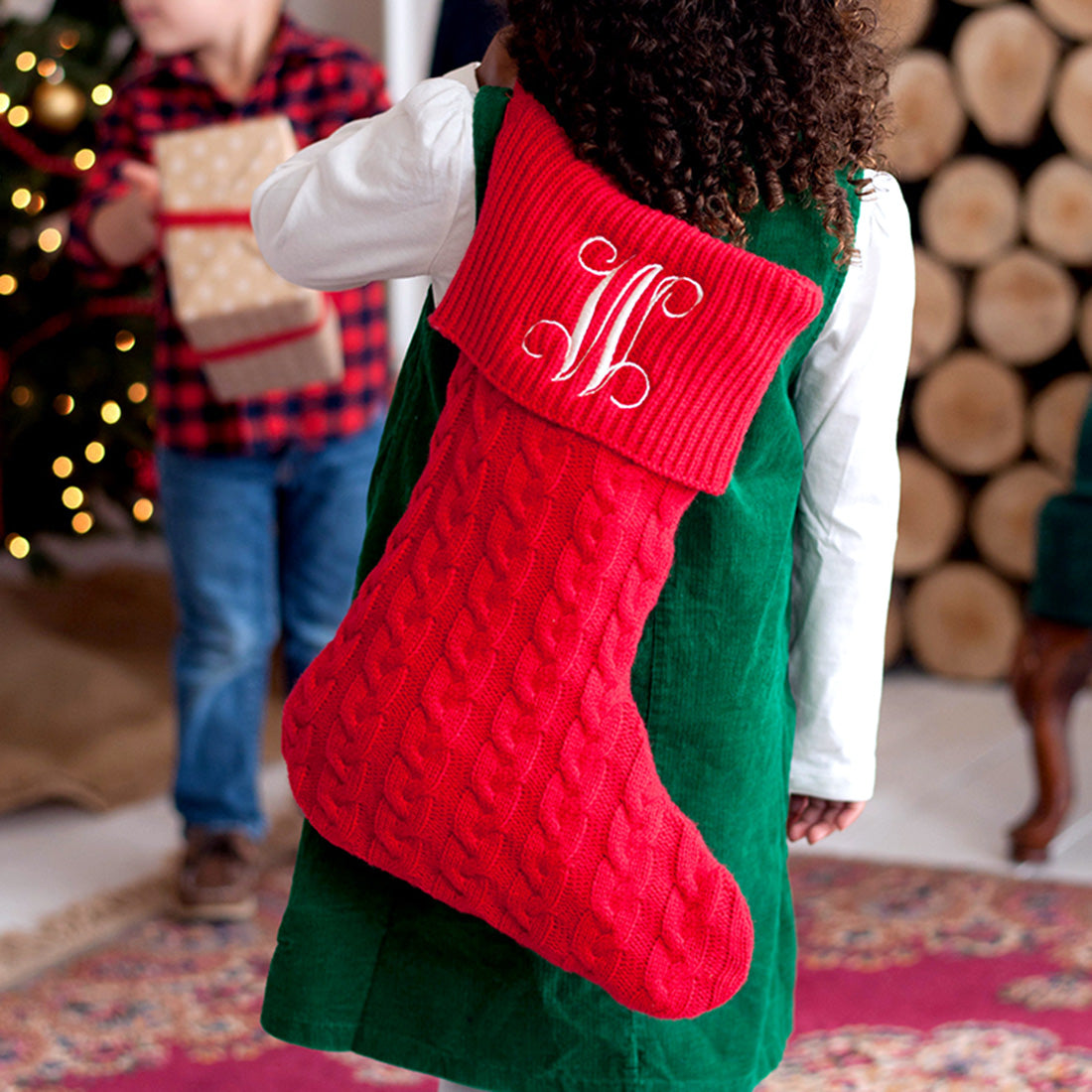 Classic Cable Knit Christmas Stocking in Red - with Monogram,Christmas stocking - Dirt Road Divas Boutique