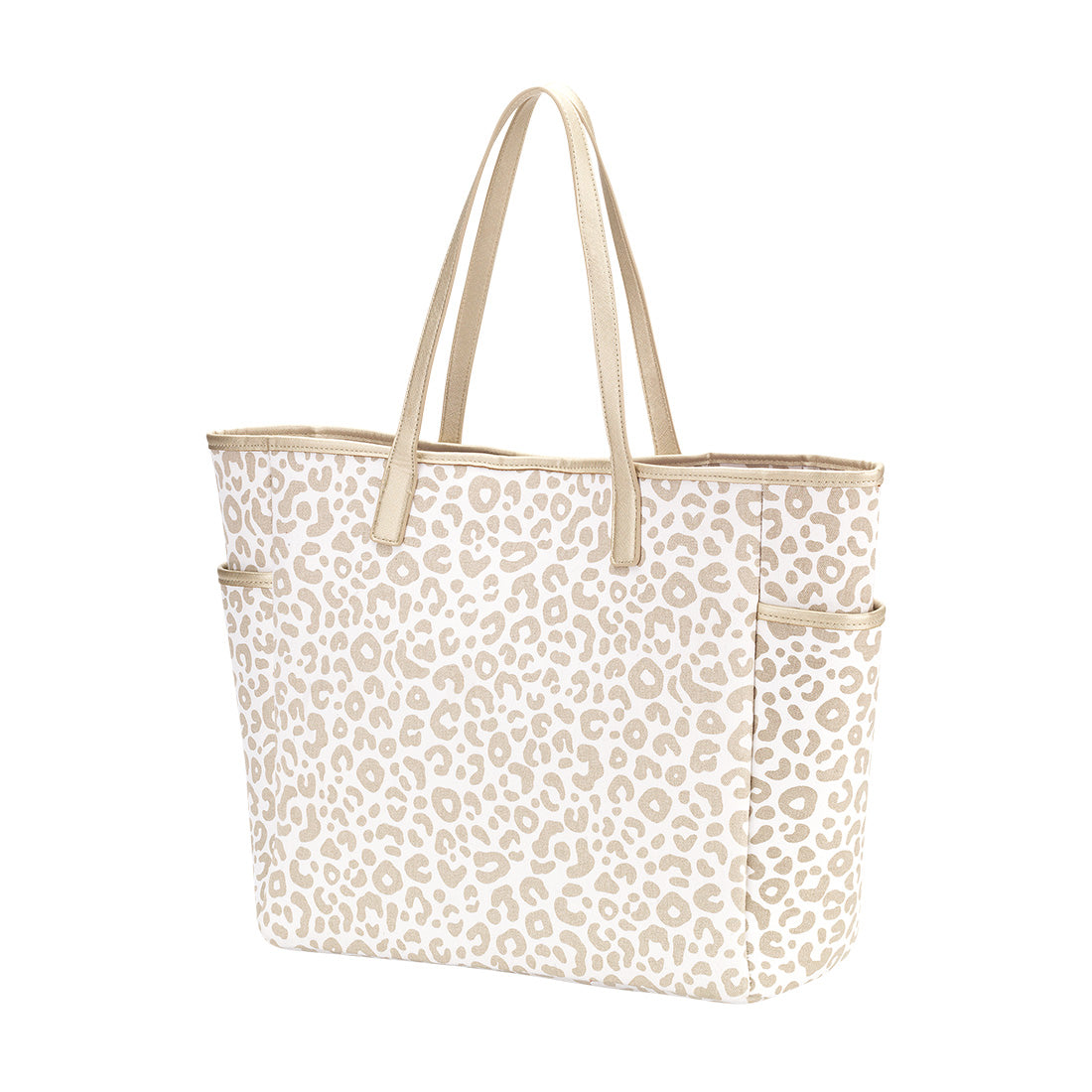 Ivory & Gold Leopard Tote Bag with Monogram,Tote Bag - Dirt Road Divas Boutique