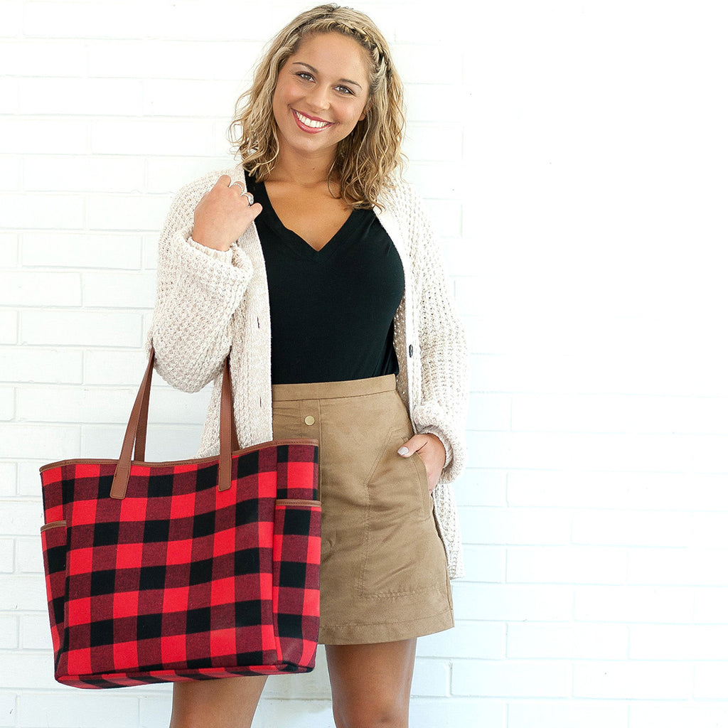 Red & Black Buffalo Check Plaid Tote Bag,Tote Bag - Dirt Road Divas Boutique