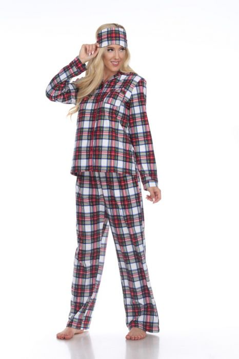 Three Piece Cozy Plaid Pajama Sets - 3 colors Available