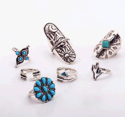 Silver and Turquoise Boho Ring Set