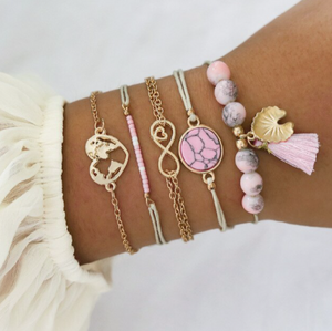 5 Piece Pink & Gold Bracelet Set