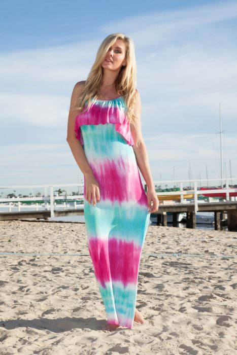 Tie Dye Maxi Dress with Ruffle Overlay - 3 Colors