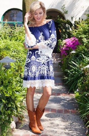 Wyoming Rodeo Dress in Navy,Dress - Dirt Road Divas Boutique