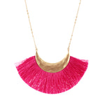 Flamingo Pink Fringe Necklace