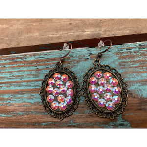 AB Swarovski Crystal Earrings on Antiqued Copper Ovals,Earrings - Dirt Road Divas Boutique