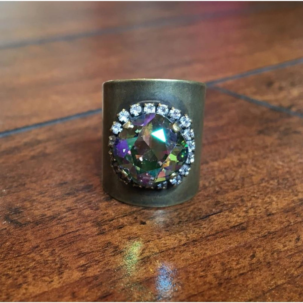 Antique Gold Barrel Ring With Aurora Borealis Swarovski Crystal Center,Rings - Dirt Road Divas Boutique