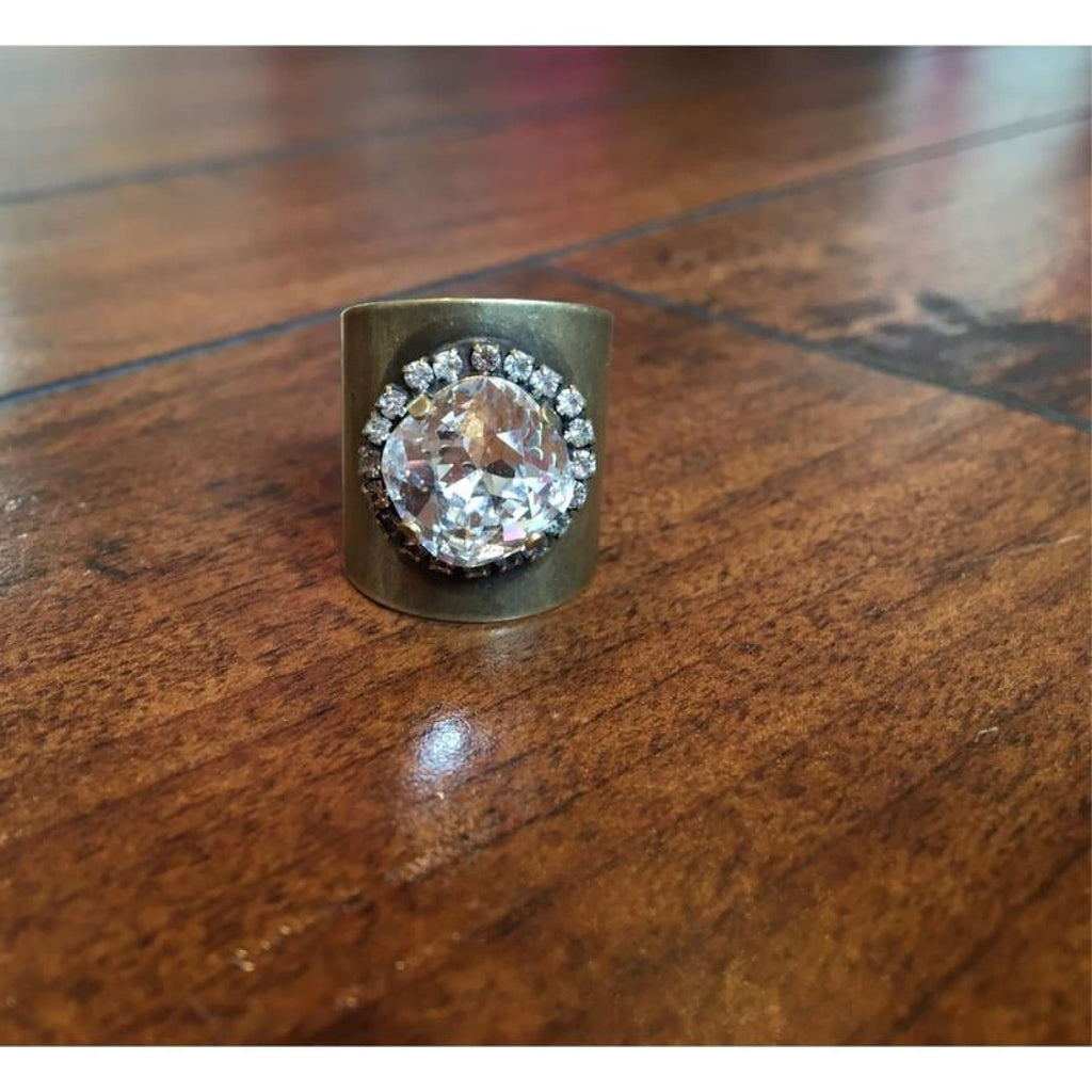 Antique Gold Barrel Ring With Clear Swarovski Crystal,Ring - Dirt Road Divas Boutique