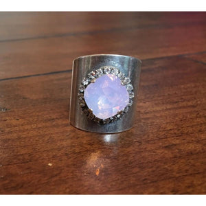 Antique Silver Barrel Ring With Rose Opal Swarovski Crystal And Clear Crystal Accents,Ring - Dirt Road Divas Boutique