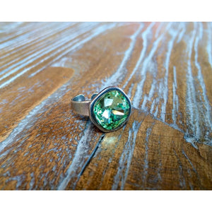 Antique Silver Ring With Christolite Swarovski Crystal - Ring