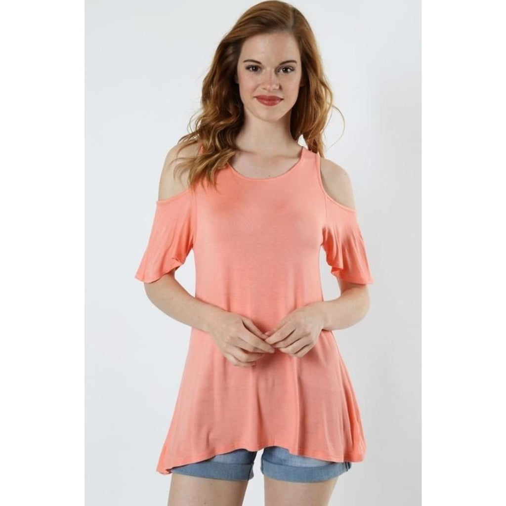 Apricot & Honey Cold Shoulder Top,Top - Dirt Road Divas Boutique