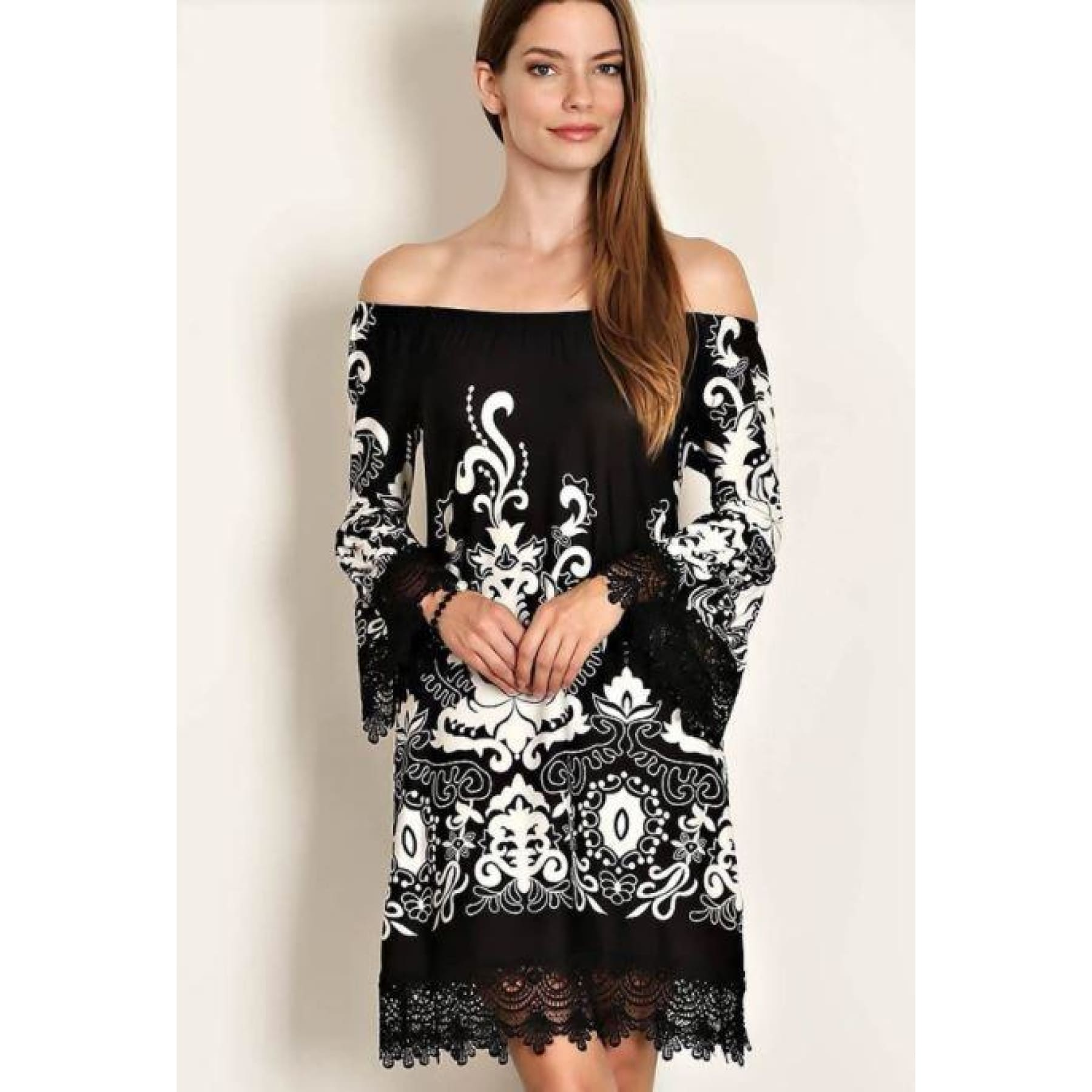Black and White Paisley Dress - S - Dress