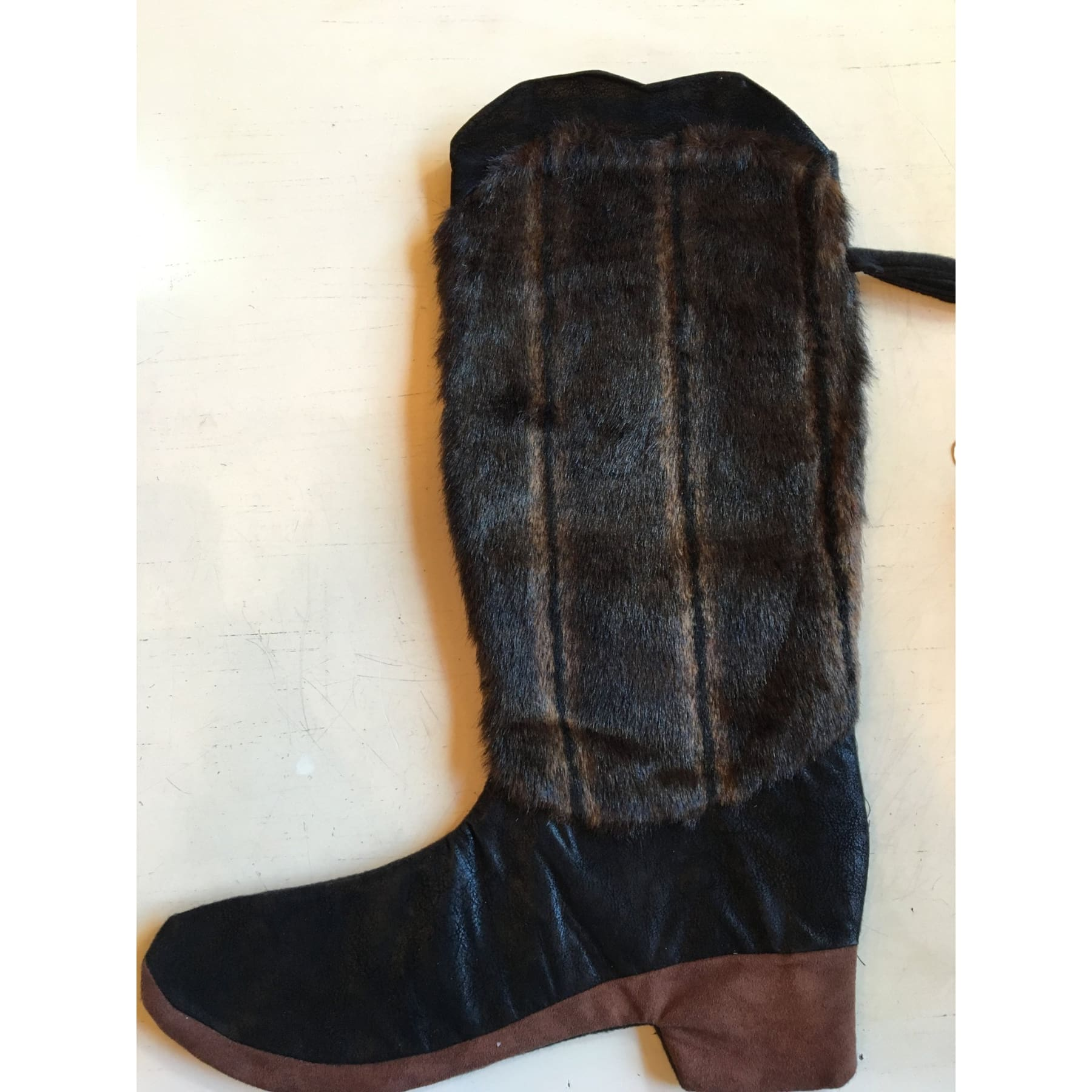 Brown & Black Fur Boot Christmas Stocking,Home Decor - Dirt Road Divas Boutique