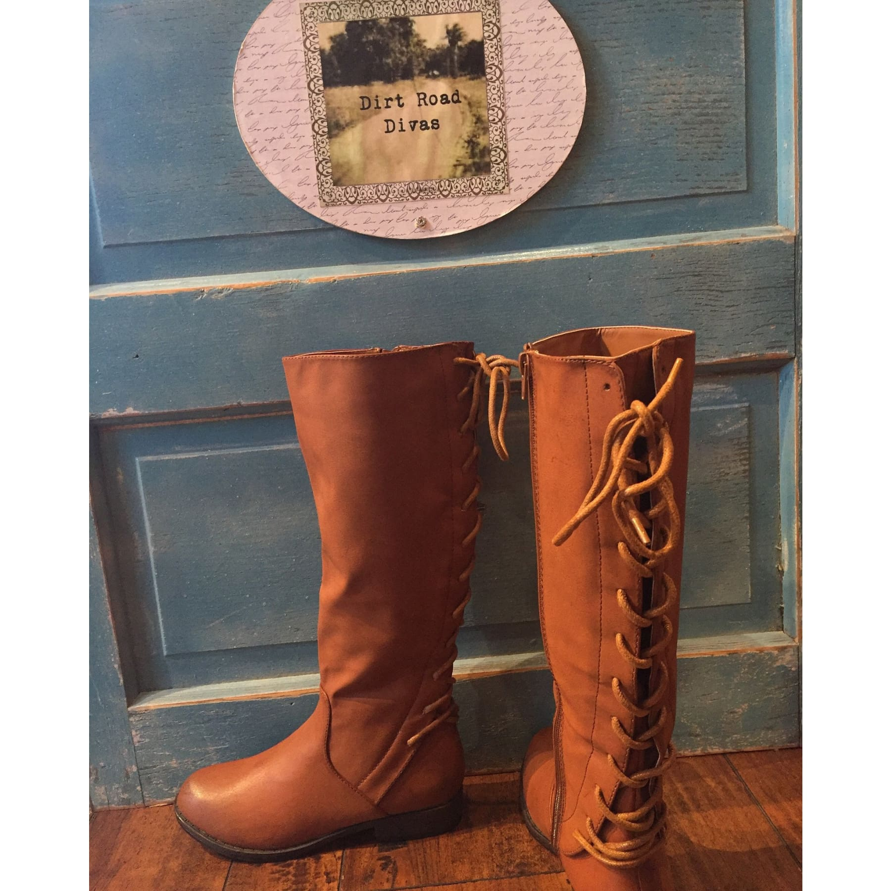 Brown Lace Up Riding Boots - 5.5 - Boots