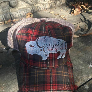 Buffalo Plaid Vintage Trucker Cap,Hats - Dirt Road Divas Boutique