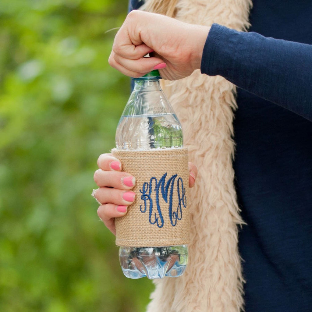Burlap Drink Wrap with Monogram,Drinkware - Dirt Road Divas Boutique