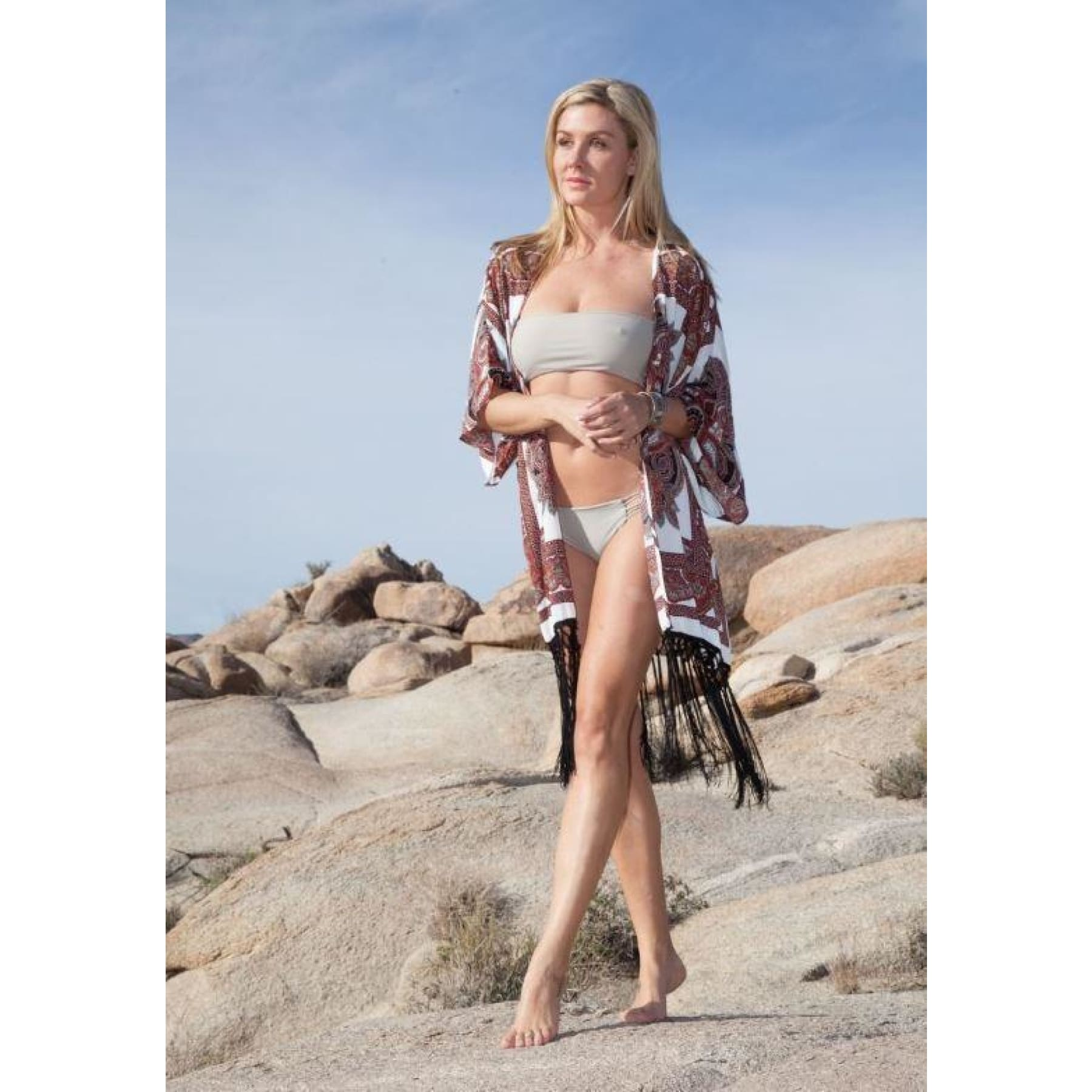 Cactus City Fringe Kimono,Kimono - Dirt Road Divas Boutique