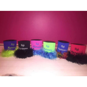 "Can Koozie ""High Maintenance"" with Feathers,Drinkware - Dirt Road Divas Boutique"