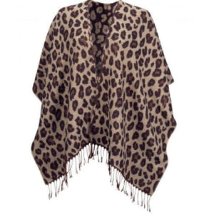 Cheetah Print Reversible Fringe Wrap