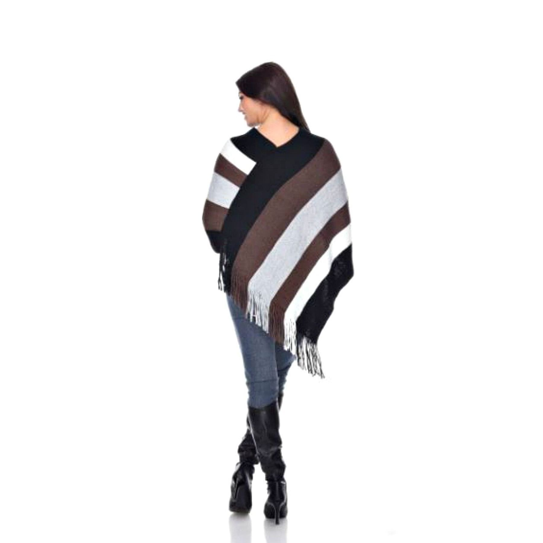 City Limits Bold Striped Fringe Poncho,Poncho - Dirt Road Divas Boutique
