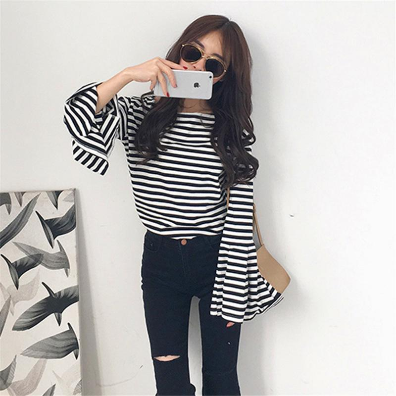 ClaudiaG B&W Bell Sleeve Top