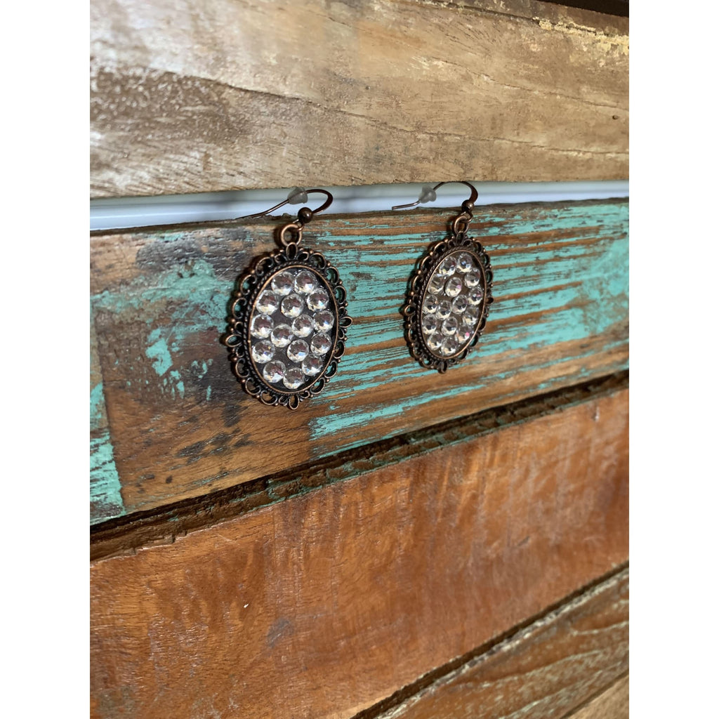 Clear Crystal Swarovski Oval Earrings in Antiqued Copper,Earrings - Dirt Road Divas Boutique