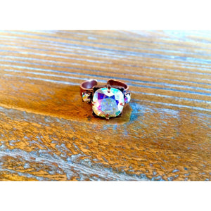 Copper Ring With 3 AB Swarovski Crystals,Ring - Dirt Road Divas Boutique