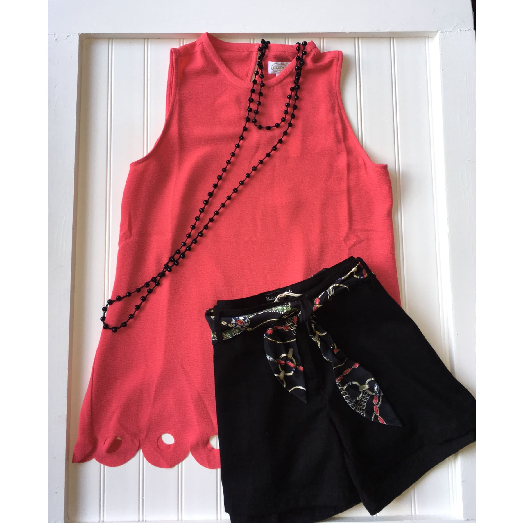 Coral Pink Scalloped Edge Sleeveless Top,Top - Dirt Road Divas Boutique