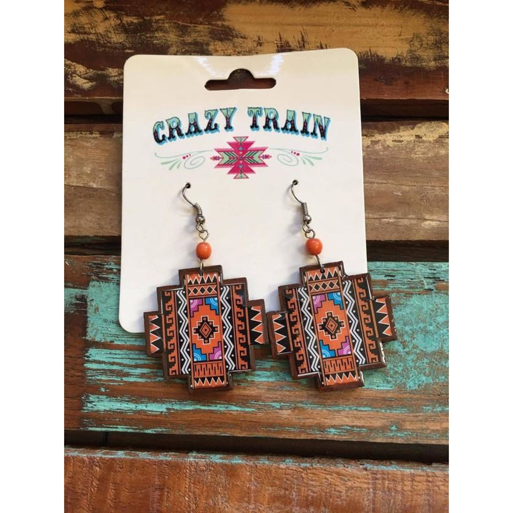 Crazy Train Aztec Earrings - Earrings