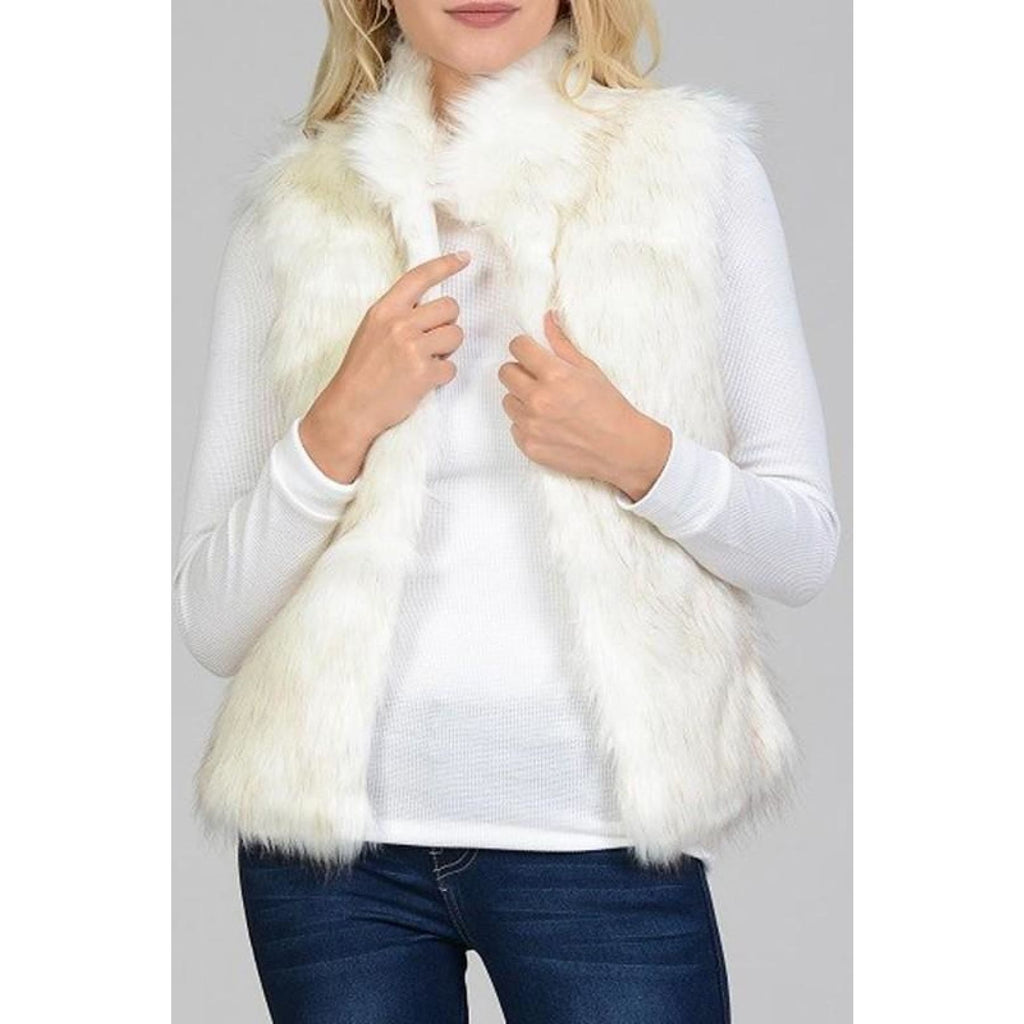 Cream Faux Fur Vest - S - Vest