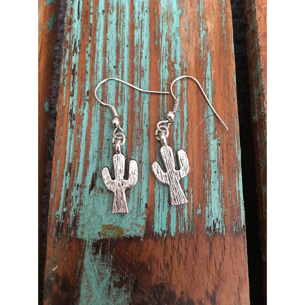 Dainty Silver Cactus Earrings,Earrings - Dirt Road Divas Boutique
