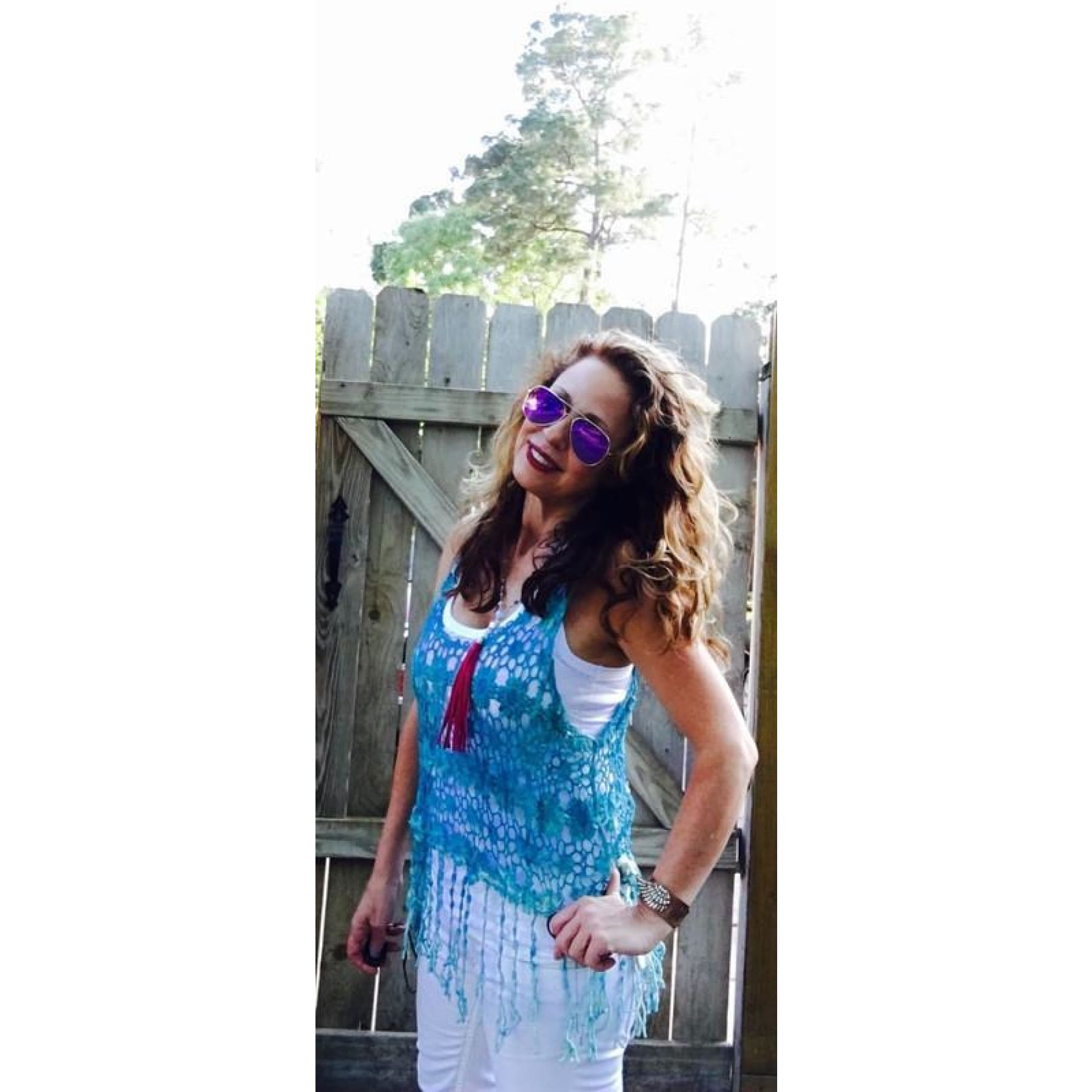 Daisy Chain Crochet Tank with Fringe,Top - Dirt Road Divas Boutique