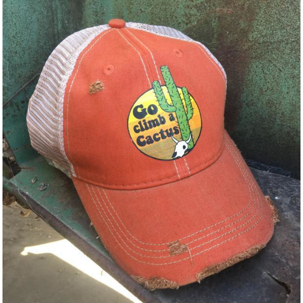 Distressed Trucker Cap ~ Go Climb a Cactus,Hats - Dirt Road Divas Boutique