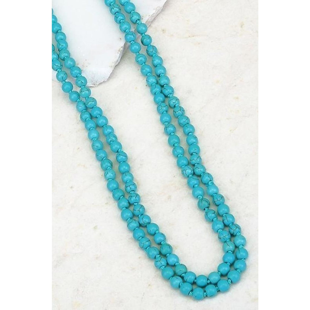 Double Layer Turquoise Beads/Earring Set - Necklace