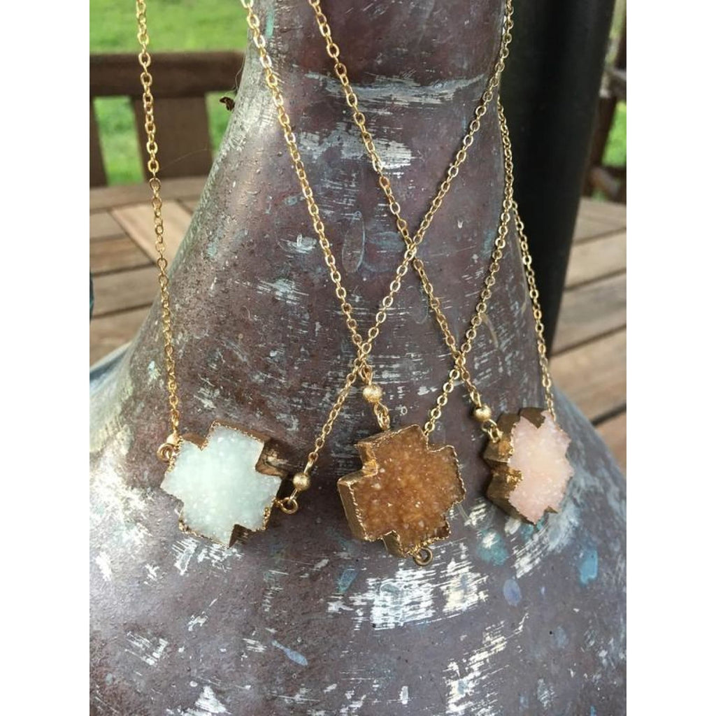 Druzy Cross Necklace,Necklace - Dirt Road Divas Boutique