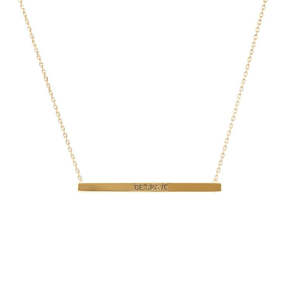 Be Brave  Bar Necklace in Gold