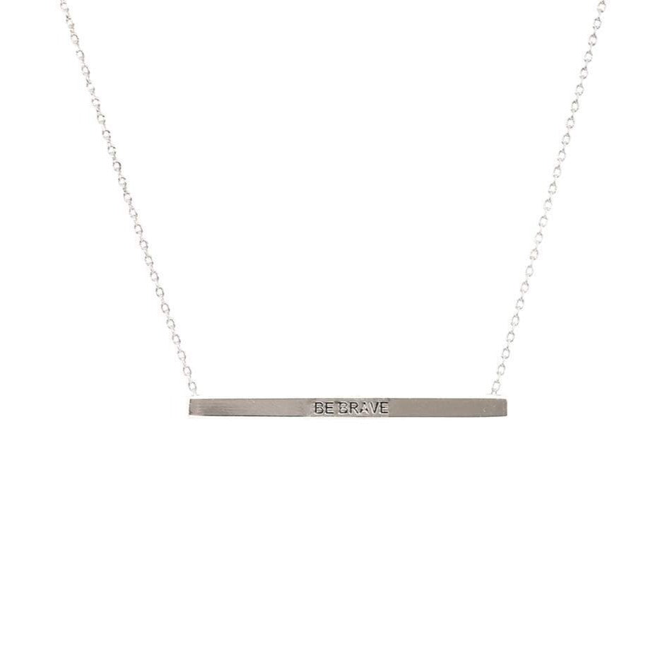 Be Brave  Bar Necklace in Silver
