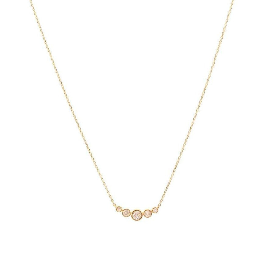Gold Graduated Five Crystal Necklace