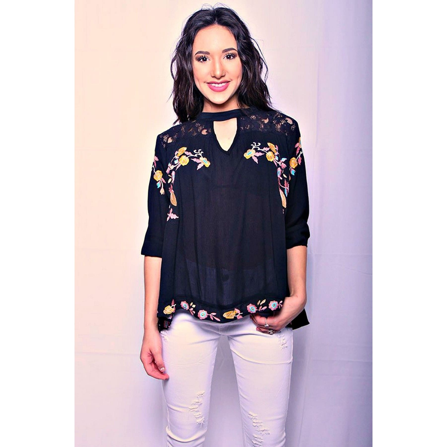Floral & Lace Embroidered Key Hole Top