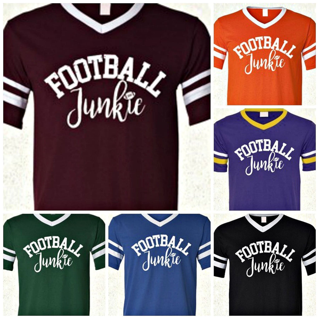 Football Junkie Jersey Tee  (2 color choices),Graphic Tee - Dirt Road Divas Boutique