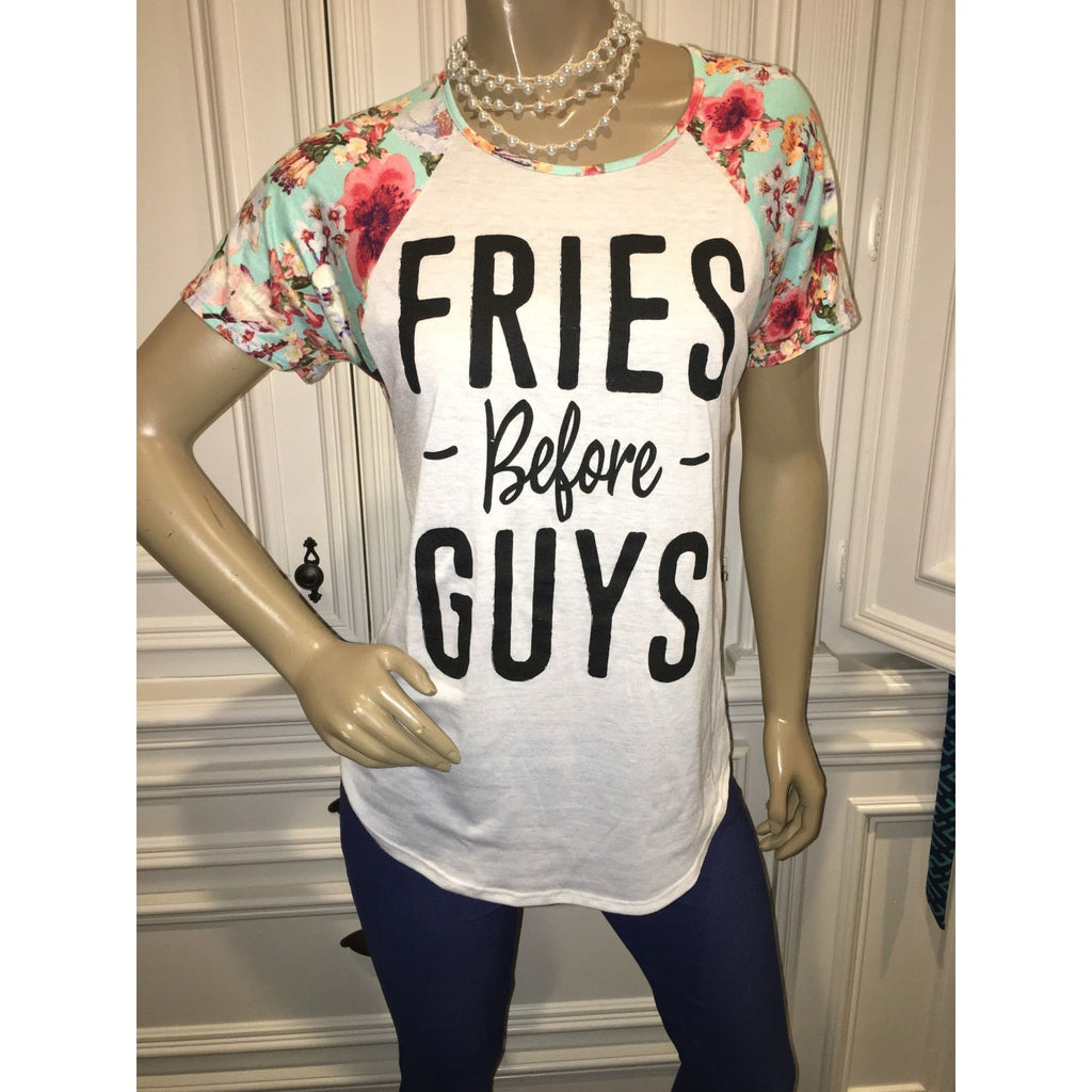Fries Before Guys Floral Tee,Top - Dirt Road Divas Boutique