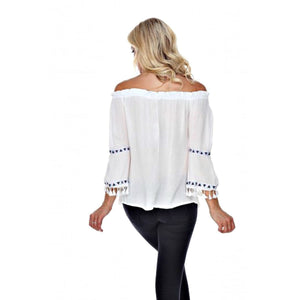 Fringe Benefits Off the Shoulder Top ~ 4 Colors