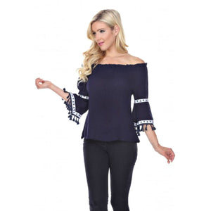 Fringe Benefits Off the Shoulder Top ~ 4 Colors - S / Navy