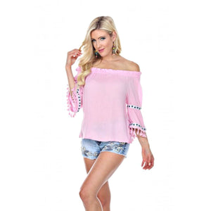 Fringe Benefits Off the Shoulder Top ~ 4 Colors - S / Sweet Pink