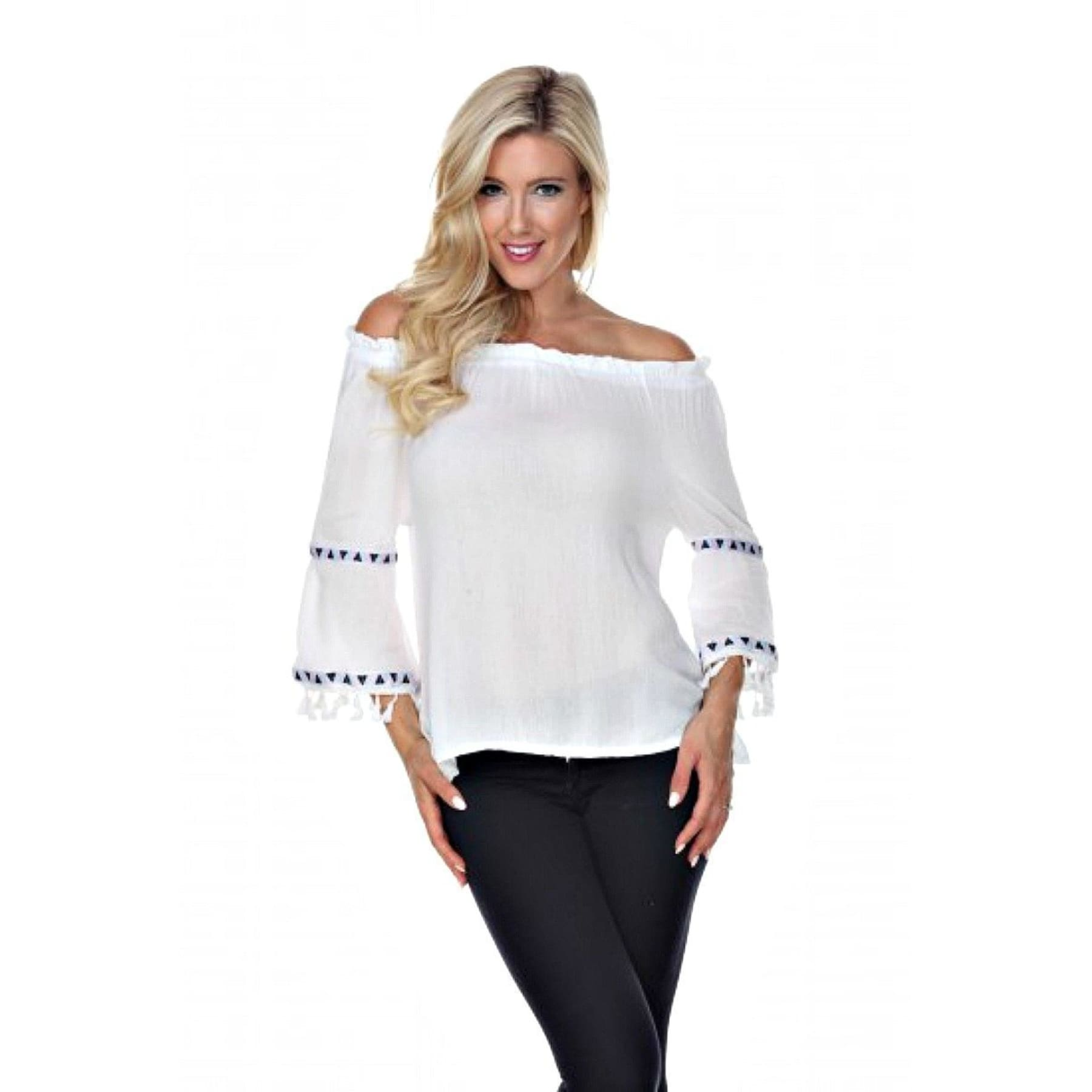 Fringe Benefits Off the Shoulder Top ~ 4 Colors - S / White