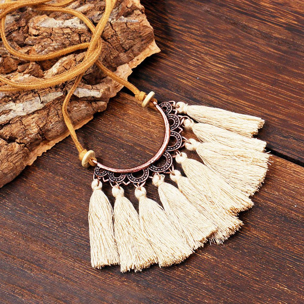 Boho Leather Tassel Necklaces