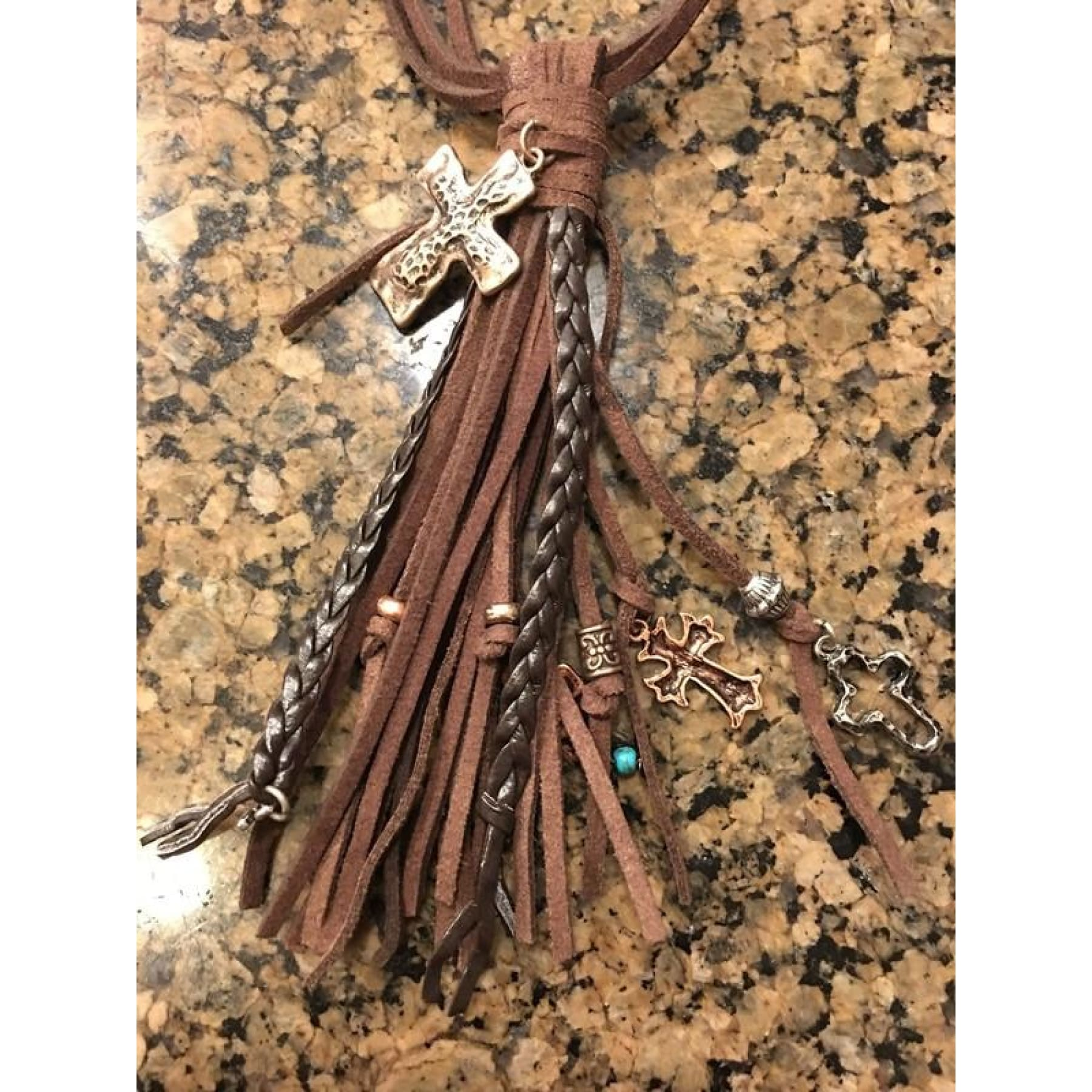 Hello Rodeo Leather Tassel Necklace With Crosses - Necklace