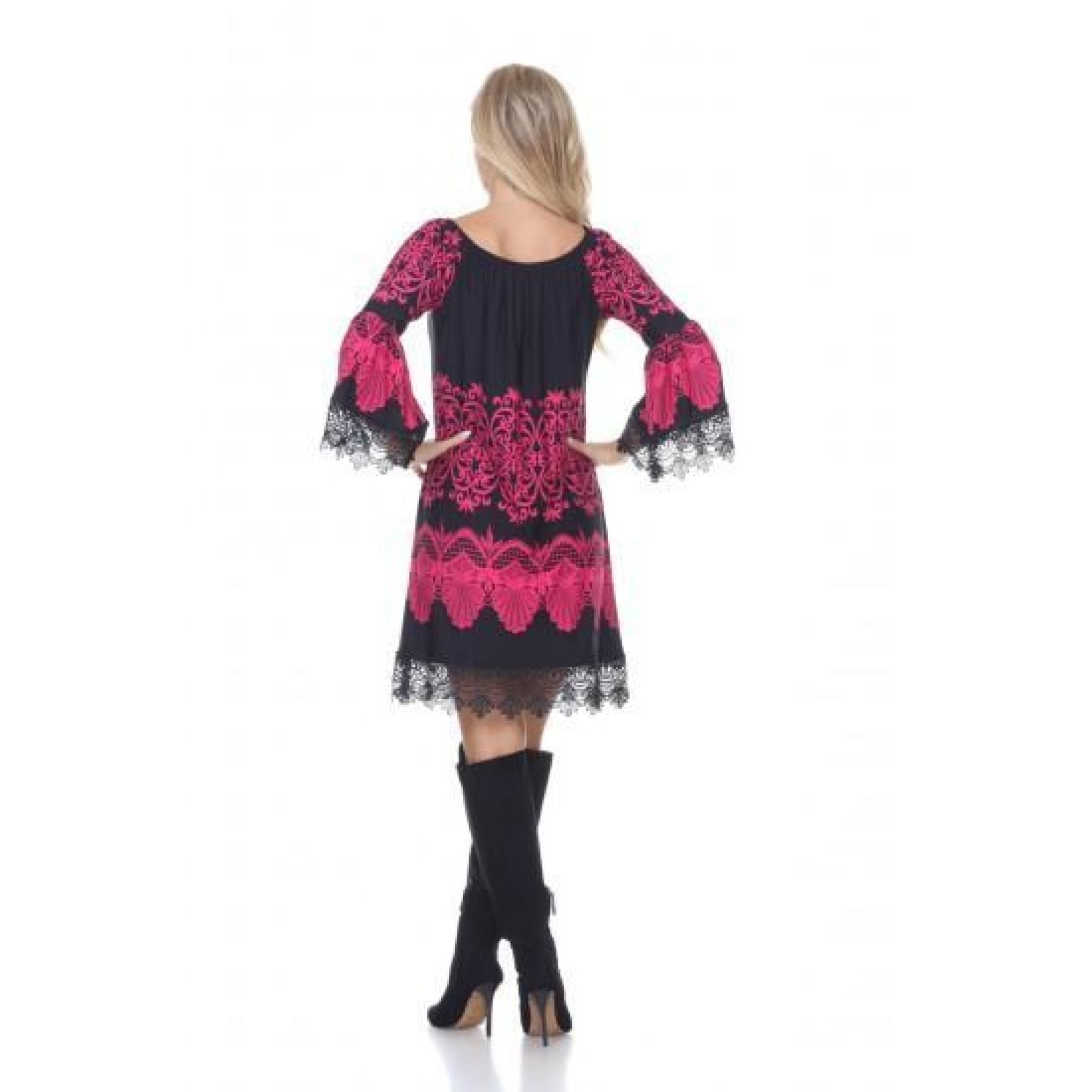 Hill Country Lace Sleeve Dress in Raspberry and Black - Dress
